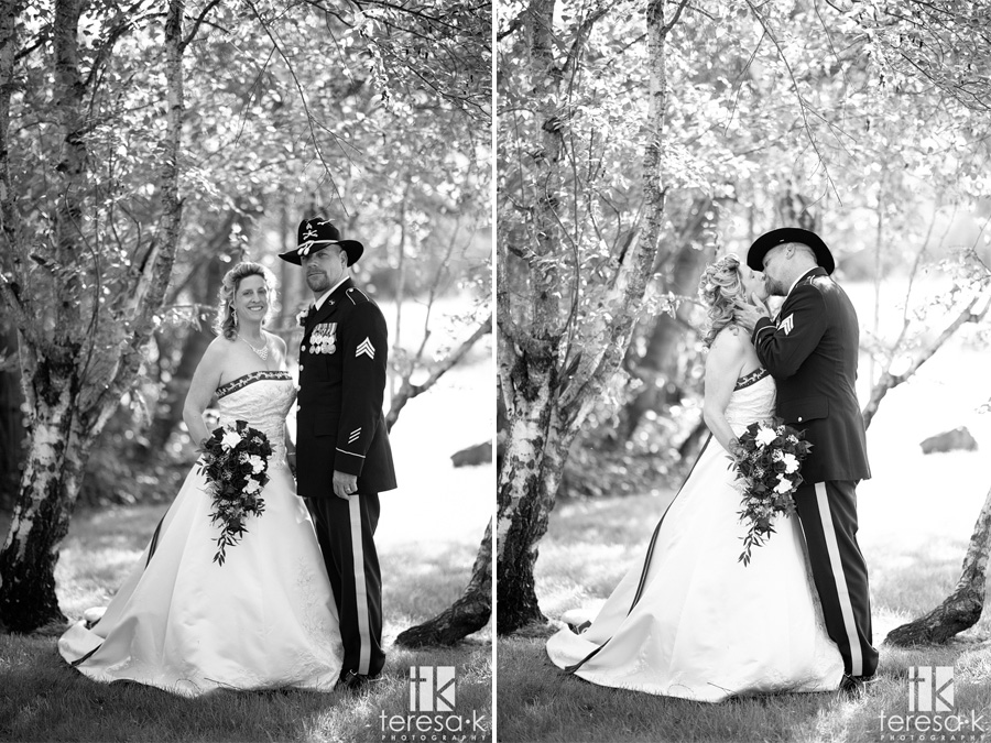 black and white picture of army uniform at wedding