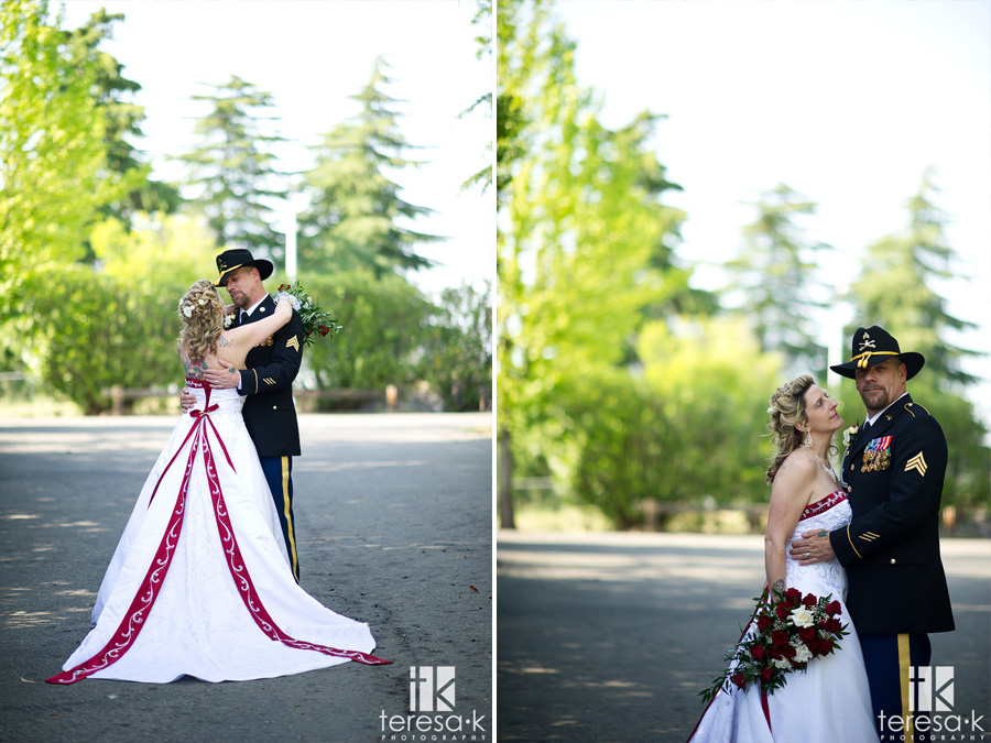 bride and army groom at Sacramento wedding