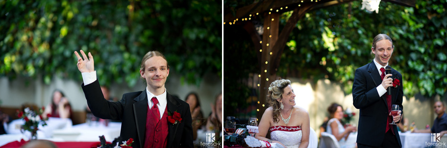 bride's son gives an emotional toast