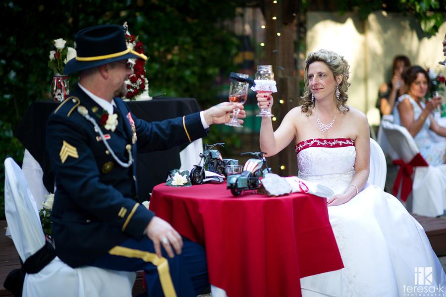 wedding toast with mason jar wine glasses
