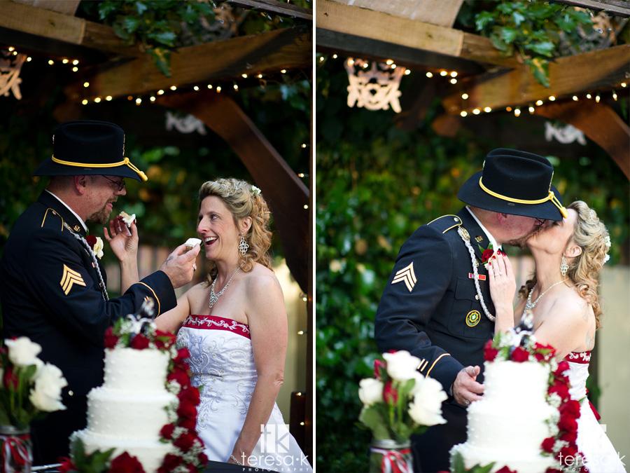 fun cake cutting with bride and groom