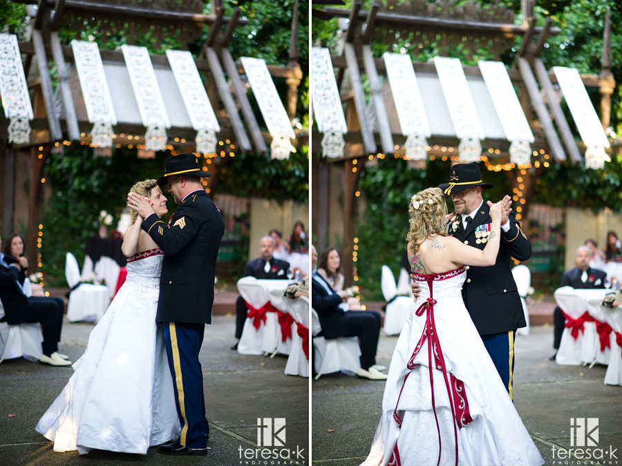 army groom and bride's first dance
