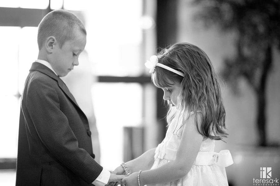 mini bride and groom at ceremony