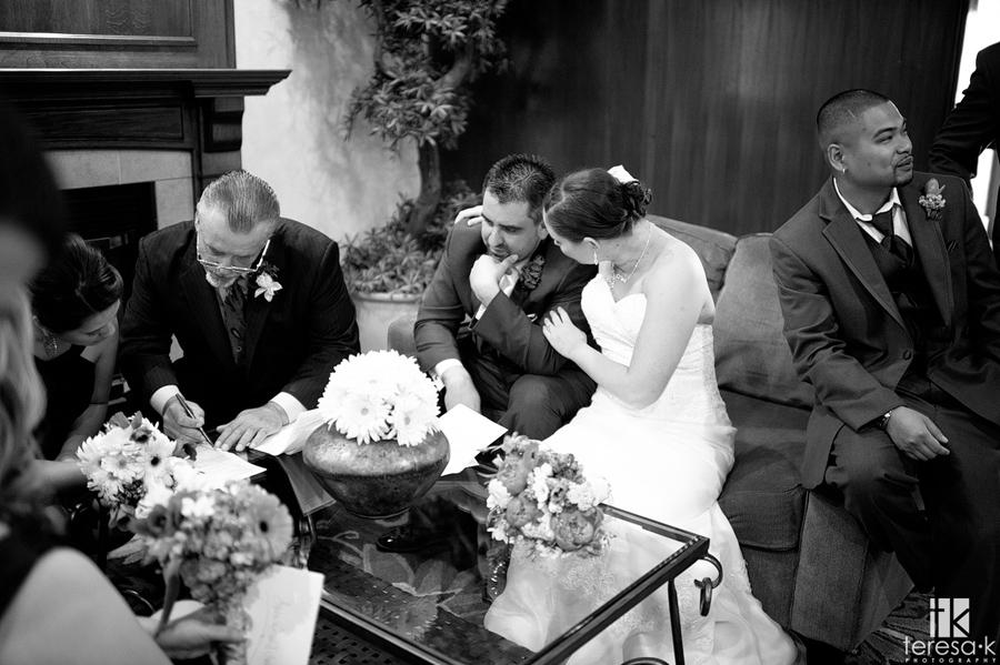 marriage certificate signing at lake Natoma