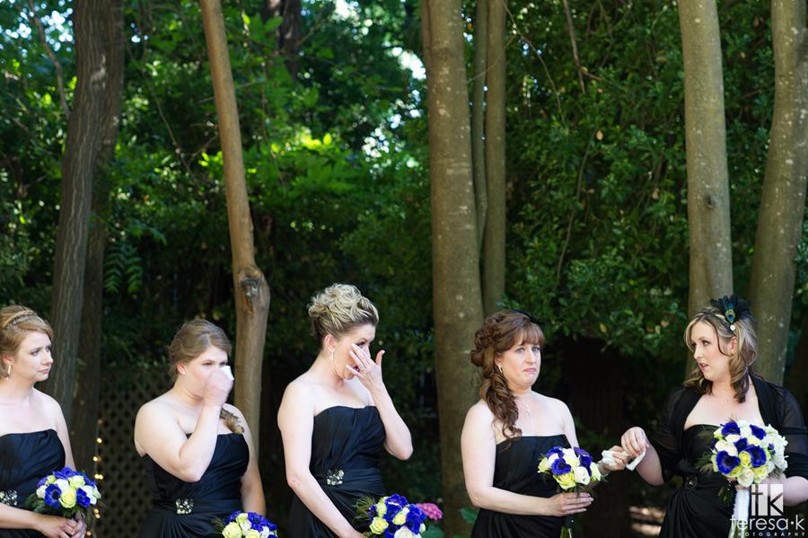 crying bridesmaids at lone wedding