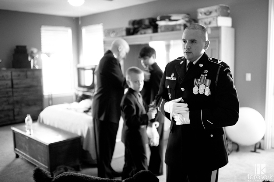 army groom getting ready in Folsom