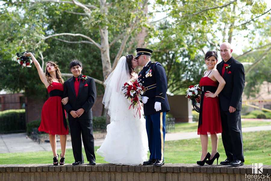 bridal party shot in Folsom wedding