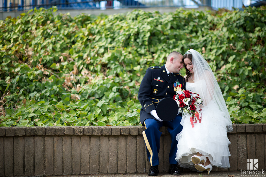 army dress blues in Folsom wedding