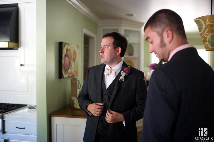 groom getting ready in east Sacramento