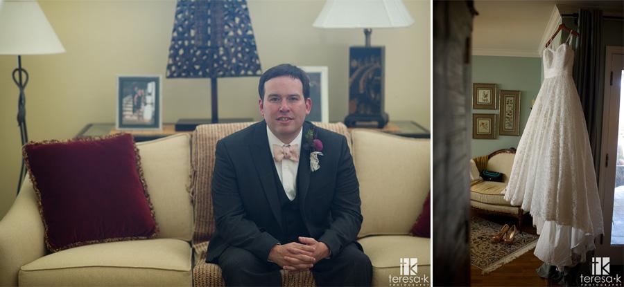 portrait of groom next to lave wedding dress