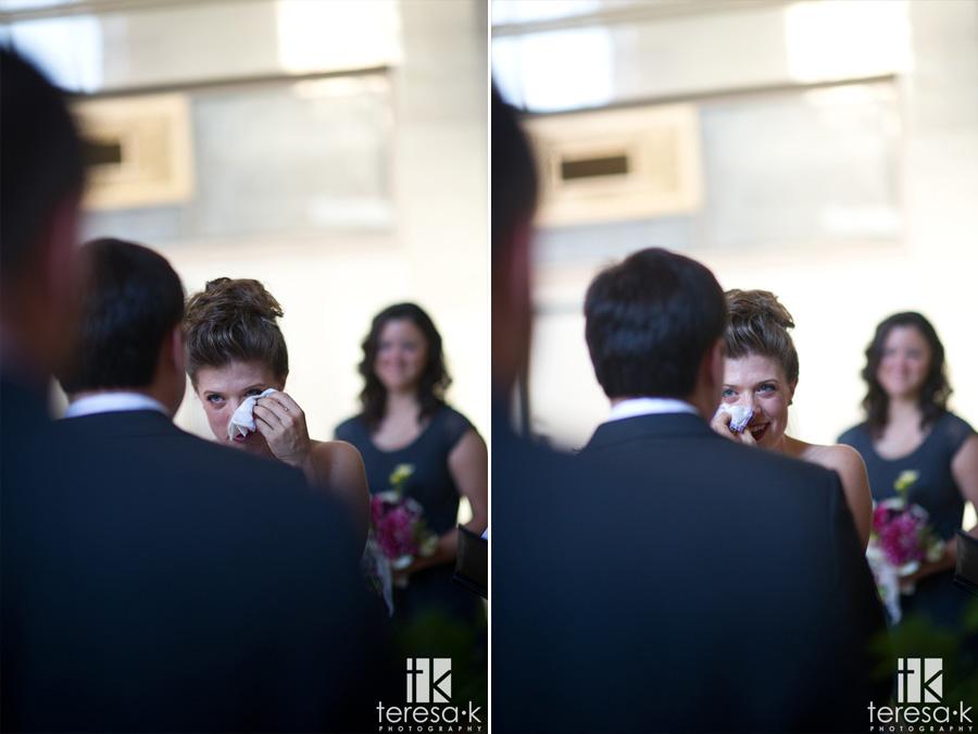 bride crying at Sacramento grand ballroom wedding