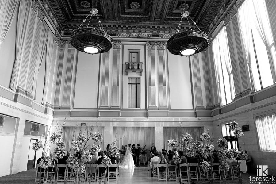 wide shot of Sacramento grand ballroom inside wedding