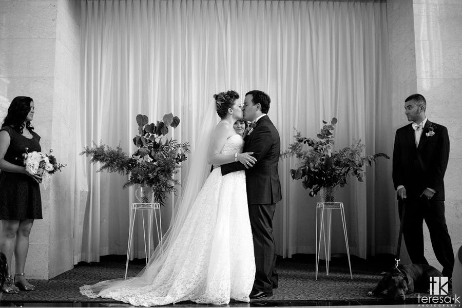 first kiss at the Sacramento grand ballroom wedding