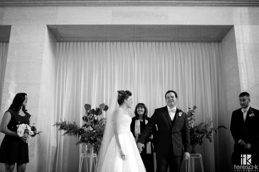 happy, silly groom after wedding ceremony