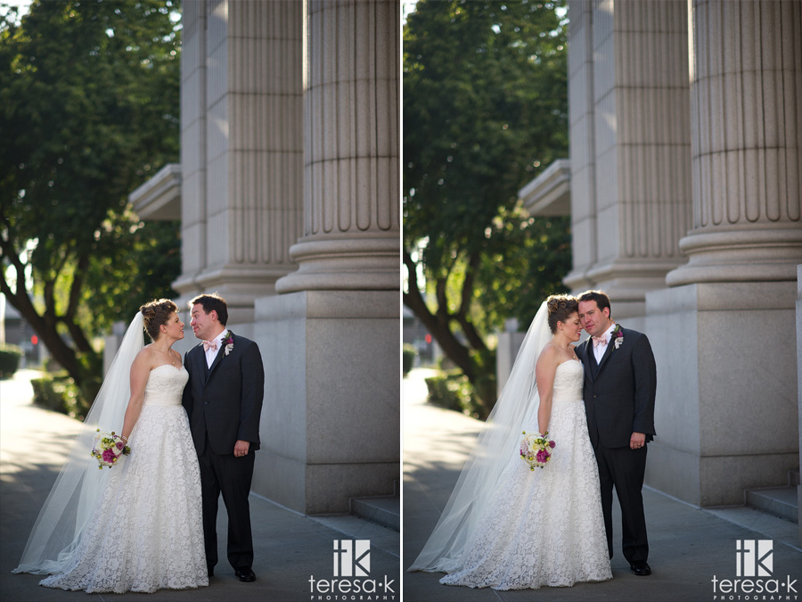 bride and groom in front of Sacramento grand ballroom