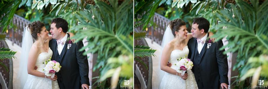 sweet moment between bride and groom at the Sacramento grand ballroom