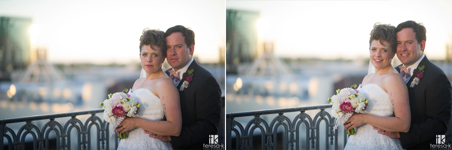 bride and groom traditional portrait on rooftop