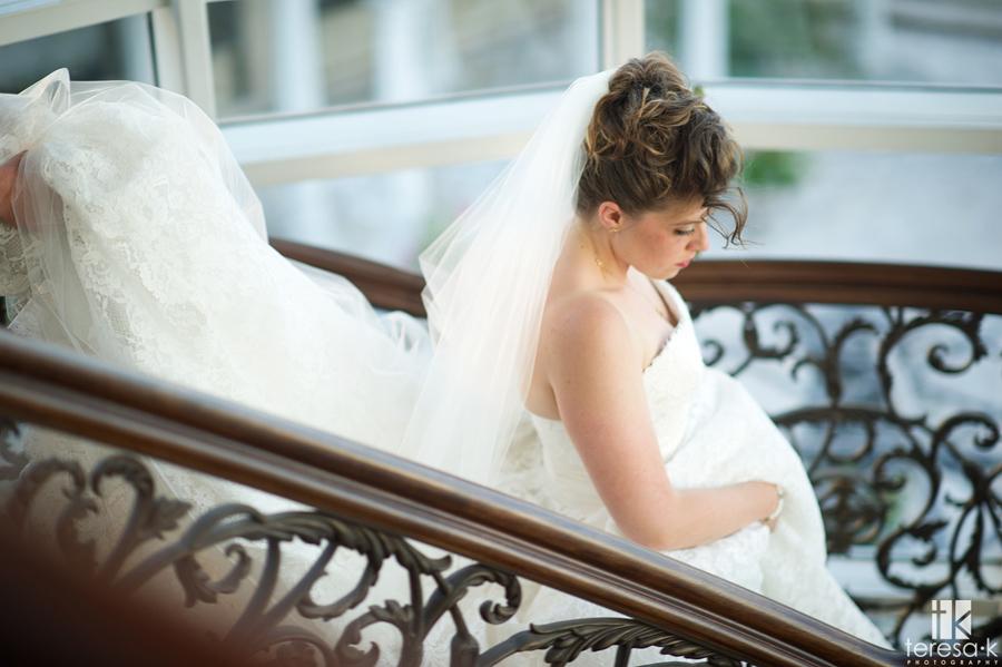 bride descending stairs at the Sacramento grand ballroom
