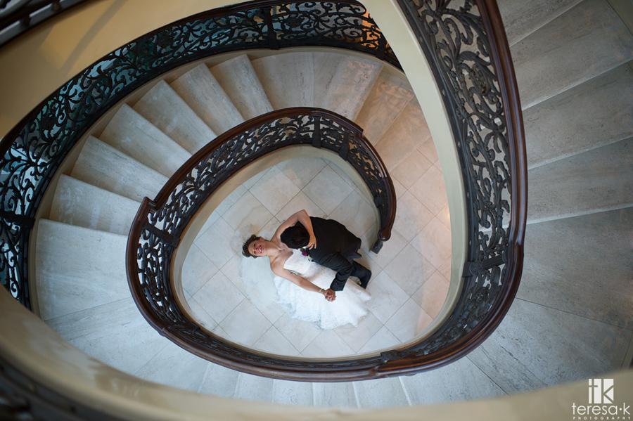 spiral staircase wedding shot at the Sacramento grand ballroom