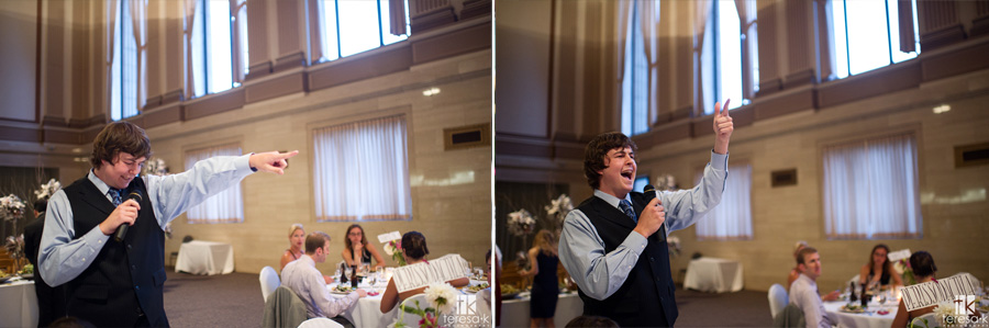 guests sing for their dinner at wedding
