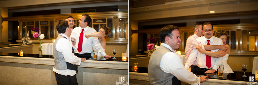 bride and groom getting crazy with their gusts
