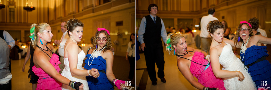 80's themed guests grinding the bride at reception