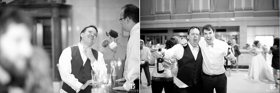 groom enjoying his wedding reception