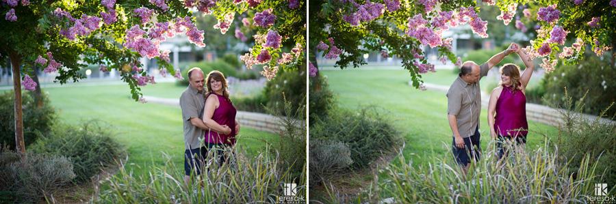 beautiful purple tree in engagement photo