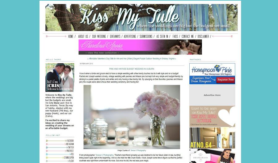 Auburn wedding photographer featured on the wedding blog kiss my tulle