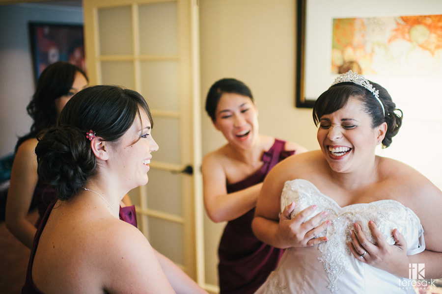 beautiful bride surrounded by bridesmaids