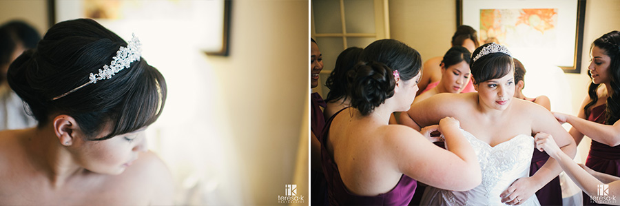 getting wedding dress on at double tree in sacramento
