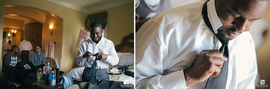 groom getting ready in the villa at arden hills