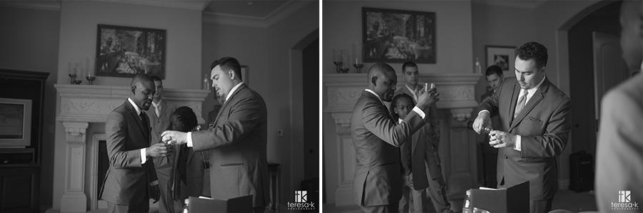 groomsmen take a shot before wedding