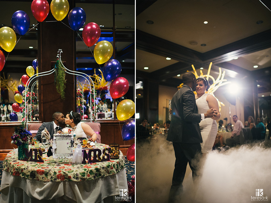 bride and groom dancing on clouds at reception