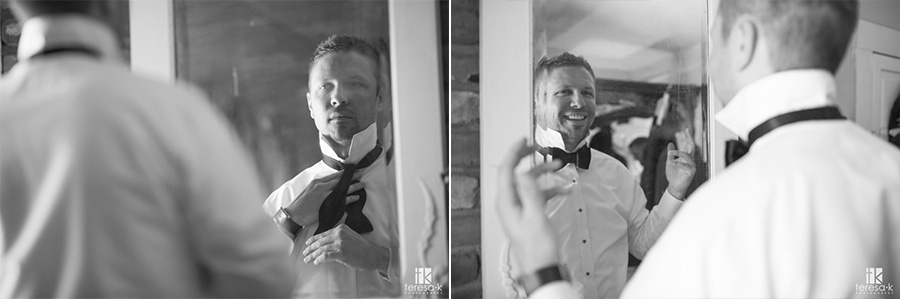 groom ties bowtie for wedding