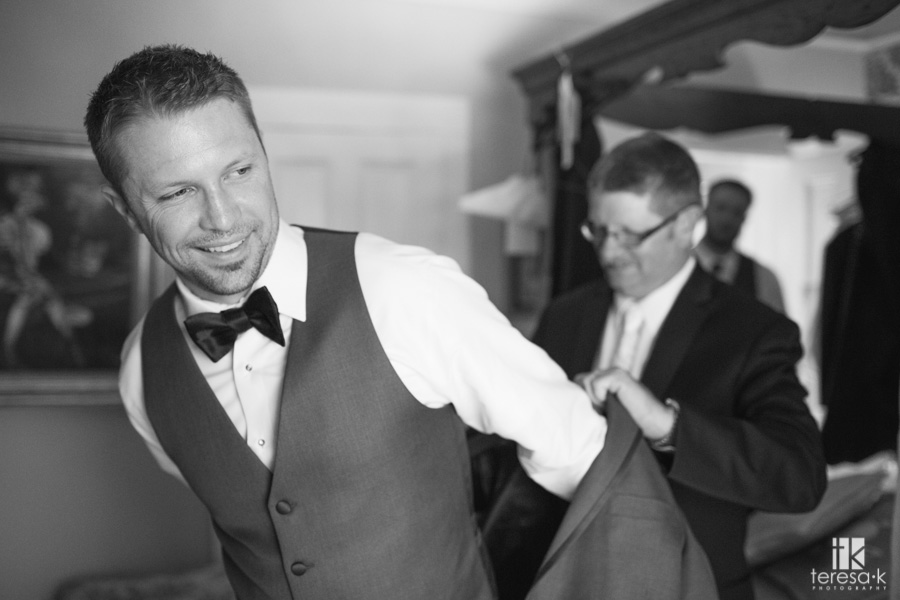groom getting ready at ione inn